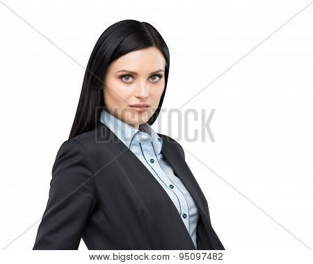 Portrait Of A Beautiful Brunette Lady In A Formal Suit. Isolated.