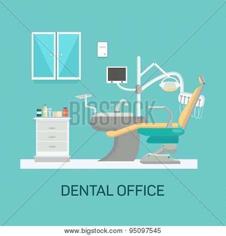 Vector dental office with seat and equipment tools.
