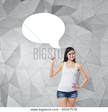 Brunette Lady Is Pointing Out The Empty Thought Bubble. Contemporary Background.