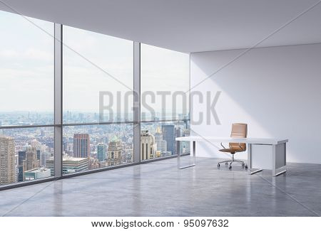A Workplace In A Modern Corner Panoramic Office In New York, Manhattan. A Brown Leather Chair And A