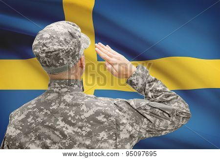Soldier In Hat Facing National Flag Series - Sweden
