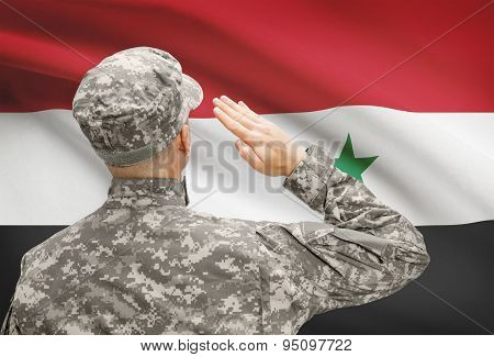 Soldier In Hat Facing National Flag Series - Syria