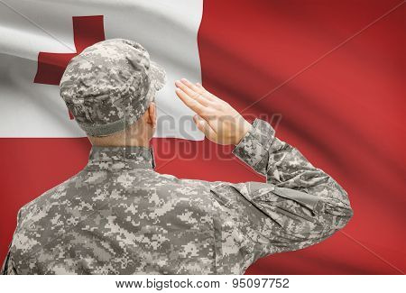 Soldier In Hat Facing National Flag Series - Tonga