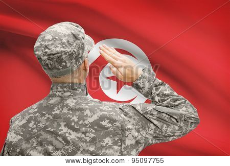 Soldier In Hat Facing National Flag Series - Tunisia