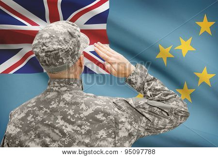 Soldier In Hat Facing National Flag Series - Tuvalu