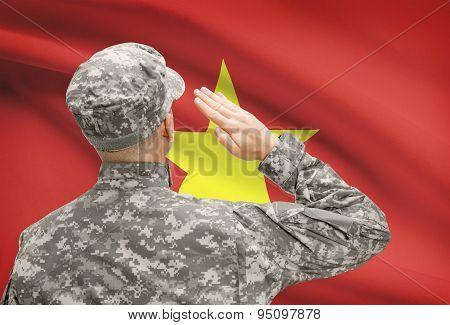 Soldier In Hat Facing National Flag Series - Vietnam