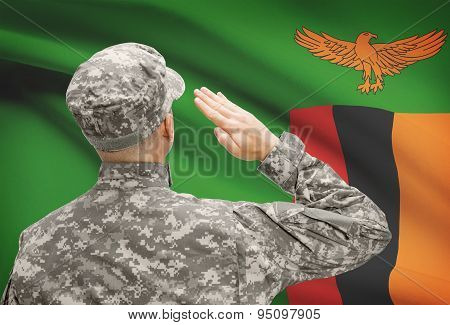 Soldier In Hat Facing National Flag Series - Zambia