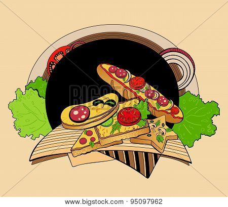 Illustration of sandwiches.