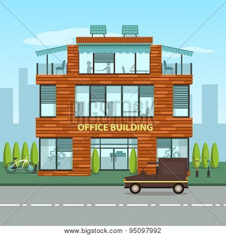 Modern office building in cartoon flat style.