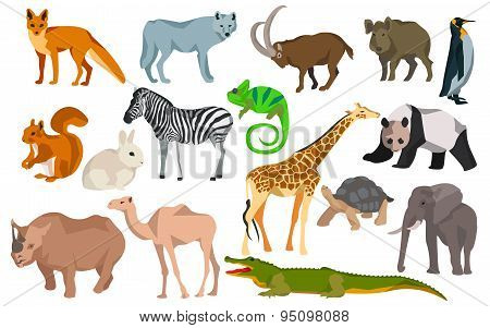 Big set different animals goat, wild boar, panda, rabbit, zebra