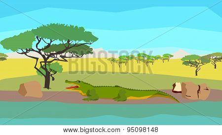 Crocodile near the river, seamless, animal, nature