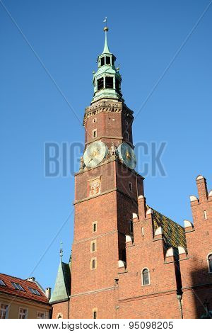 Town Hall Tower On Marketplace In Wroclaw