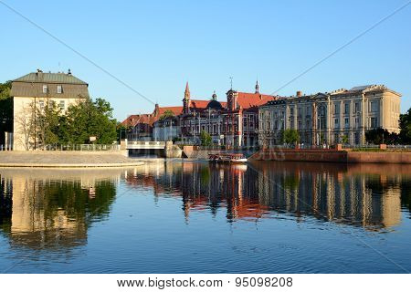 Buildings At Odra River In Wroclaw, Poland