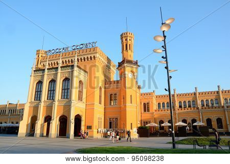 Wroclaw Main Railway Station Building At Sunset.