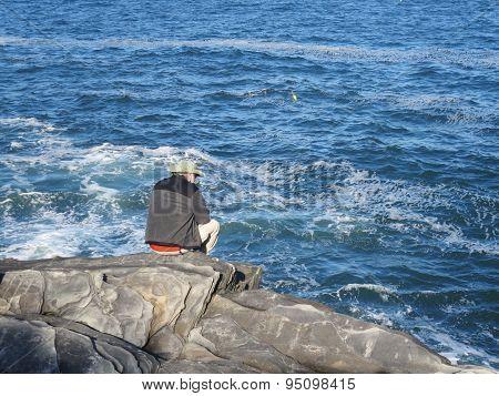 Senior Man and the Ocean