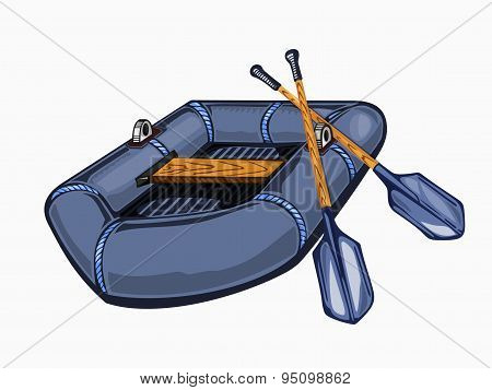 Illustration of gray inflatable boat with oars.