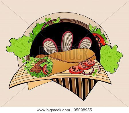 Illustration of shawarma.