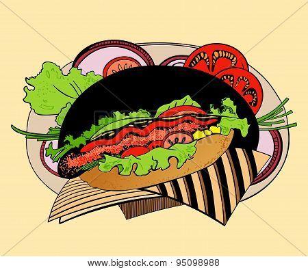 Illustration of hot-dog.