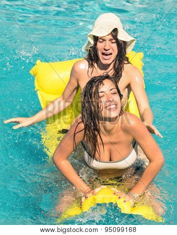 Best Friends In Bikini Enjoying Time Together Outdoors In Swimming Pool - Concept Of Freedom