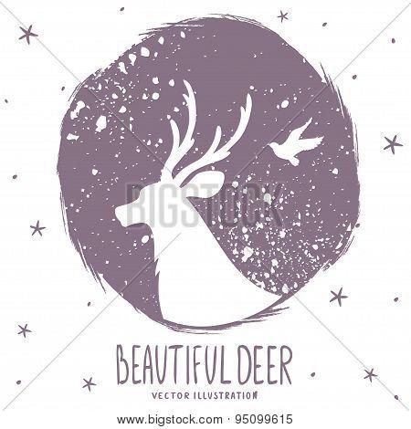 deer silhouette grunge