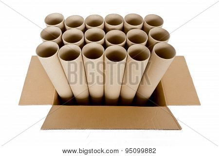 Cylinder Paper Tube With Brown Carton Box, Isolated On White
