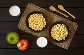 picture of dark side  - Honey flavored breakfast cereal in two rustic bowls with glasses of milk apples and wooden spoons on the side photographed overhead on dark wood with natural light - JPG