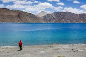 stock photo of jammu kashmir  - Pangong lake the highest salt water lake in the world at Ladakh Jammu and Kashmir state India - JPG