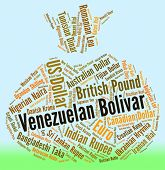 stock photo of bolivar  - Venezuelan Bolivar Showing Foreign Currency And Coinage - JPG