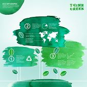 image of environmentally friendly  - Vector watercolor hand drawn painted Illustration of environmentally friendly infographics - JPG