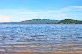 picture of dam  - Views over the reservoir Kaengkrachan dam - JPG