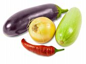 foto of brinjal  - Vegetable marrow onion eggplant and pepper chilly on a light background - JPG