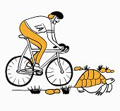 stock photo of tortoise  - new Achilles overtakes the tortoise on a bicycle vector illustration caricature - JPG