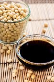 stock photo of soy sauce  - Small bowl with Soy Sauce  - JPG
