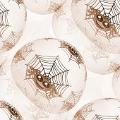 picture of cobweb  - Seamless background or texture with spiders and cobweb in brown spectrum - JPG