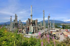 pic of inlet  - Oil refinery on a background of nature - JPG