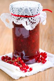 picture of jar jelly  - Red currant jelly sauce in a jar - JPG