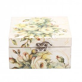 pic of decoupage  - floral pattern box decorated with decoupage paper handmade - JPG