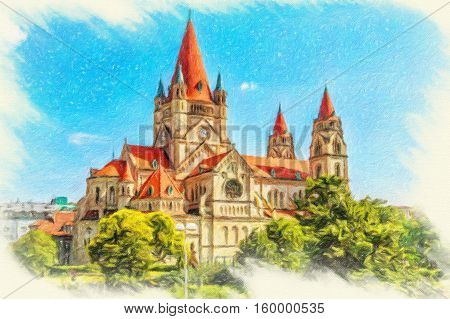 St. Francis of Assisi Church (Kirche zum heiligen Franz von Assisi) is a Basilica-style Catholic church in Vienna Austria. Built between 1898 and 1910. Austria. Oil painting effect.