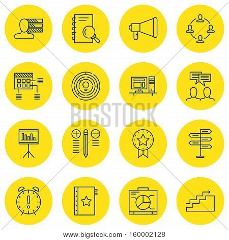 Set Of 16 Project Management Icons. Can Be Used For Web, Mobile, UI And Infographic Design. Includes Elements Such As Statistic, Meeting, Brainstorming And More.