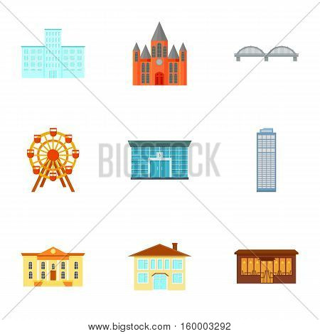Building set icons in cartoon style. Big collection of building vector symbol stock