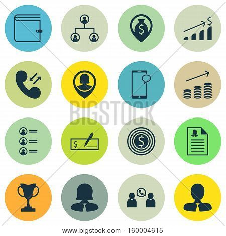 Set Of 16 Hr Icons. Can Be Used For Web, Mobile, UI And Infographic Design. Includes Elements Such As Profile, Application, Chat And More.