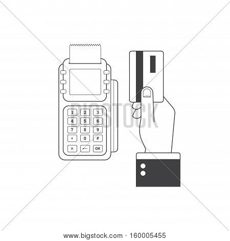 Pos terminal confirms the payment by debit credit card. Vector illustration in flat design. NFC payments concept. E-commerce