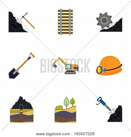 Mine set icons in cartoon style. Big collection of mine vector symbol stock