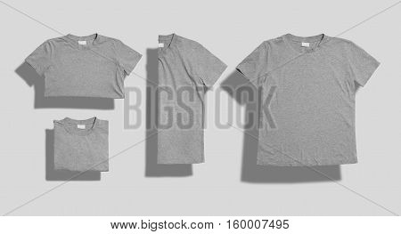 Unlabeled heather gray shortsleeve cotton t-shirt folded and lying flat as a set of four shots on white background