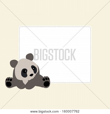 baby decorative square frame with a Panda. Baby shower or arrival. Vector illustration