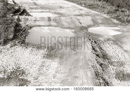 Big puddles on dirt road at summer day in black and white