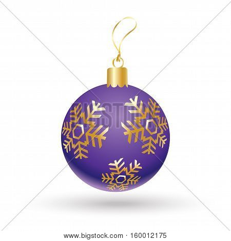 Christmas ball violet color decorated with gold snowflakes isolated on white background. Illustration for Merry Christmas and New Year Holiday greeting card.