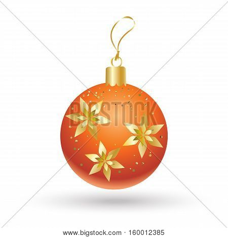 Christmas ball red color decorated with gold snowflakes isolated on white background. Illustration for Merry Christmas and New Year Holiday greeting card.