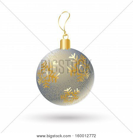 Christmas ball silver color decorated with gold snowflakes isolated on white background. Illustration for Merry Christmas and New Year Holiday greeting card.
