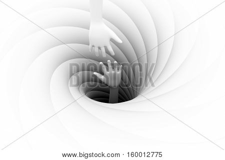 the hand sticking out of a black hole 3d illustration